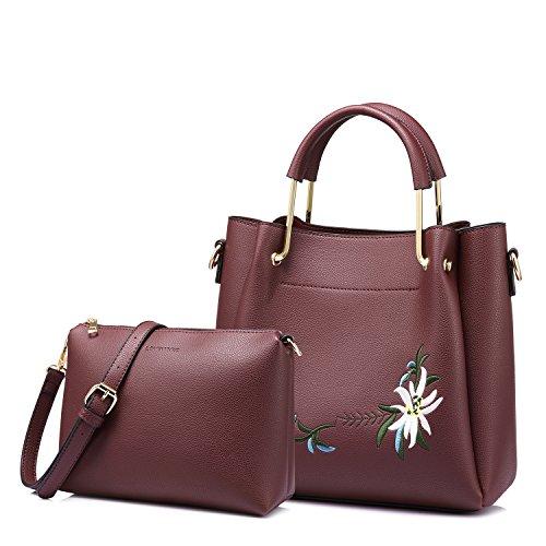 Tote Bag Top Handle Handbags Designer Purse for Women Shoulder Bag Flower Embroidery 2 PCS Set Wine Red