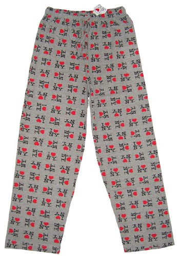 I Love NY New York Lounge Pants Heart Pajama Bottoms Gray -