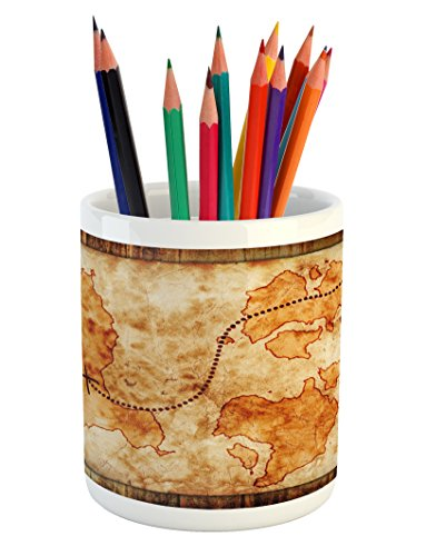 Lunarable Vintage Pencil Pen Holder, Old Treasure Map on Wooden Grunge Background with a Compass Pirate Atlas, Printed Ceramic Pencil Pen Holder for Desk Office Accessory, Ginger Sand -