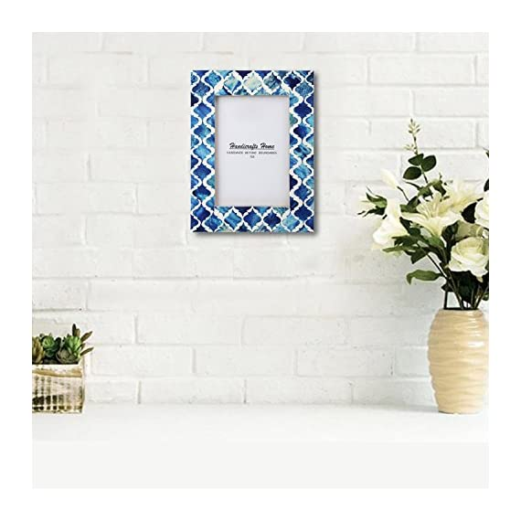 Picture Photo Frame Moorish Damask Moroccan Arts Inspired Handmade Naturals Bone Frames Photo Size 5X7 Inches Blue White - Handmade Moorish Art Inspired Bone Inlay, Resin and Pine MDF wood frames to display 4x6 inch and 5x7 inch photos of your friends, family and vacations. Border width is 1.5 inch and backing with Ultra Transparent Plexiglass, Pine wood MDF with Tie and metallic clips, corners and flexi pins to support the back and Saw-tooth hooks for wall hanging. Compliment your home decor, children nursery, gallery wall and beautify any home interior. Suitable for Wall Hanging and Tabletop display with both landscape and portrait positions. - picture-frames, bedroom-decor, bedroom - 51DvQpBPBbL. SS570  -