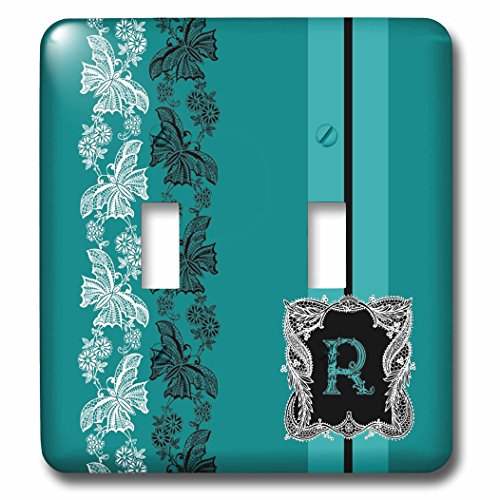 3dRose Russ Billington Monograms- Old Lace Initial R - Monogram Initial R in Teal White and Black Lace - Light Switch Covers - double toggle switch (lsp_239069_2) -