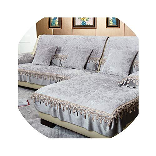 three thousand European Leather Sofa Custom Made slipcover Flannel Sofa Cushion Non-Slip Plush lace sofacover All-Inclusive Universal Sofa mat,Gray,60x150cm-1pcs