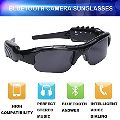 YOUBY2 720P /1080P HD Hidden Sport Bluetooth Sunglasses Spy Camera Video Recorder Sunglasses With Bluetooth Headphone and Handsfree MP3 Player Support Micro SD Card