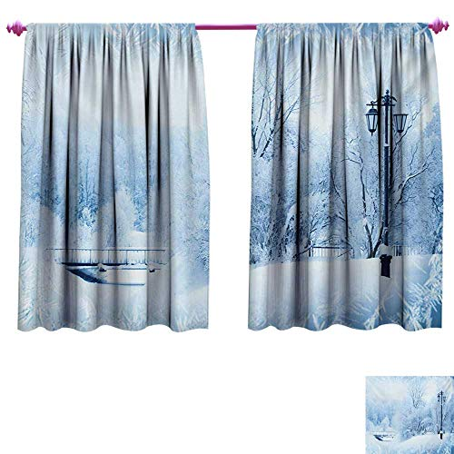 cobeDecor Winter Customized Curtains Winter Trees in Wonderland Theme Christmas New Year Scenery Freezing ICY Weather Waterproof Window Curtain W63 x L63 Blue White