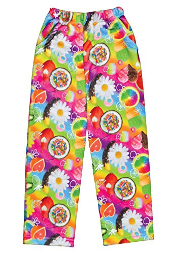 iscream Big Girls Fun Print Silky Soft Plush Pants - Tutti Fruiti, Medium by iscream