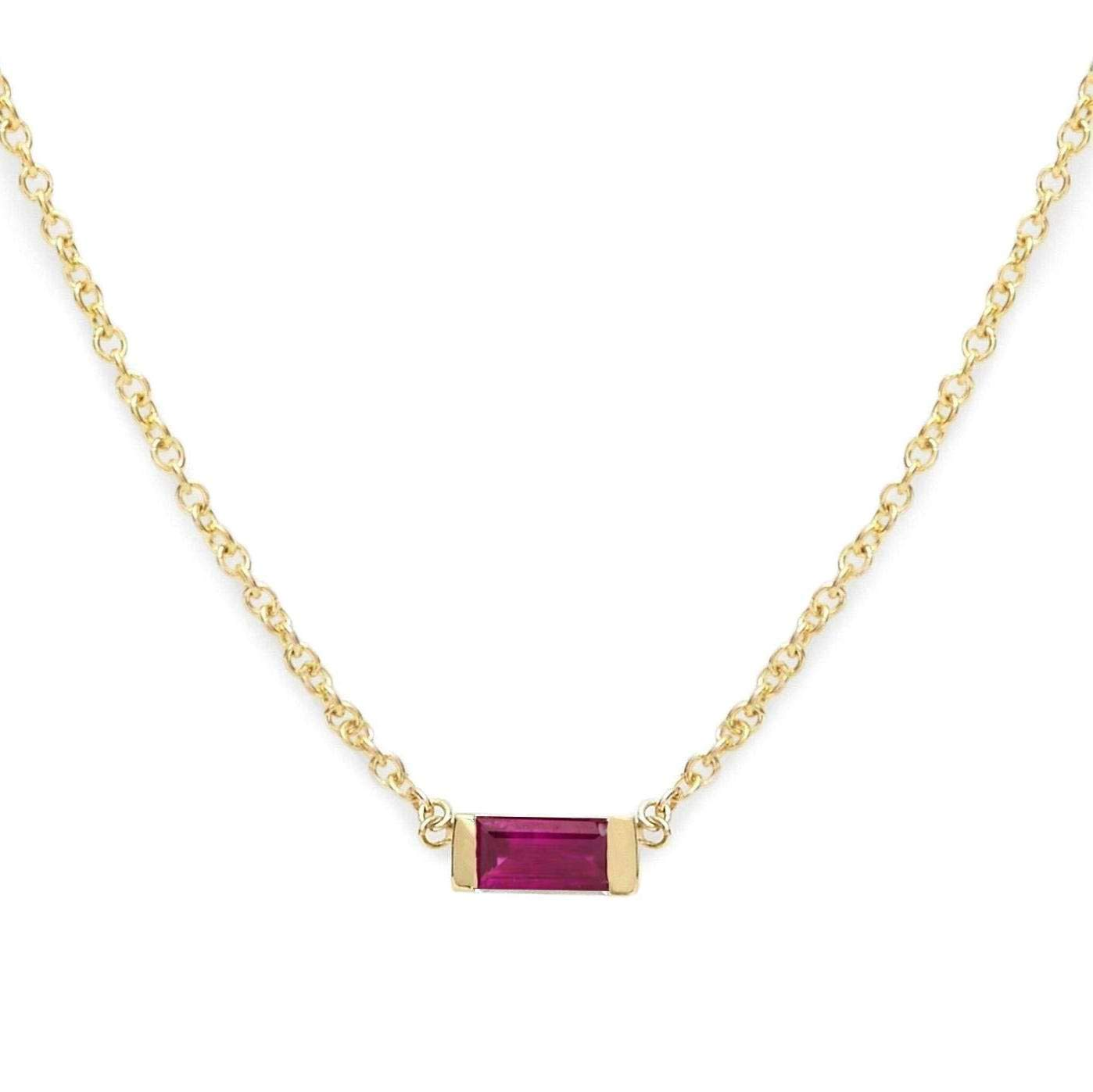 Tiny Garnet Necklace Solitaire 14//20 Gold-filled 17 Inch Length January Birthstone