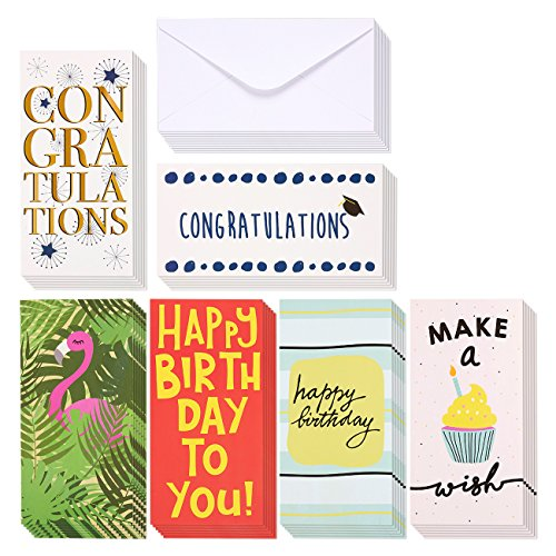 36-Piece Money Card Set - Assorted Theme Greeting Cards Including Happy Birthday and Congratulations - Includes Envelopes - Perfect for Gift Card, Cash, Check (Cash Cards)
