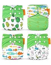 JJone Fralda de pano de bebê 4 peças laváveis e reutilizáveis esticáveis fraldas de pano de bolso com forte absorção para meninos e meninas meninos