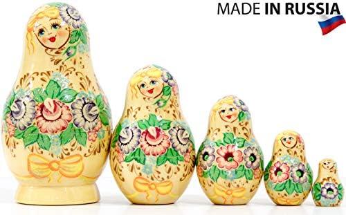 Russian Nesting Doll - Kirov - VJATKA - Hand Painted in Russia - Medium Size - Wooden Decoration Gift Doll - Matryoshka Babushka (Design D 4.75`` (5 Dolls in 1))