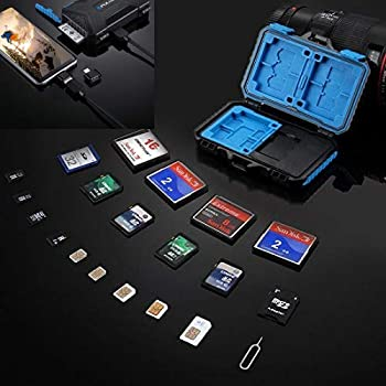 Memory Card Reader, PULUZ USB 3.0 SD CF TF Reader with OTG Fuction & 21 Slots Waterproof SD CF TF SIM Cards Case Holder for Tablet, Computer, Notebook ...