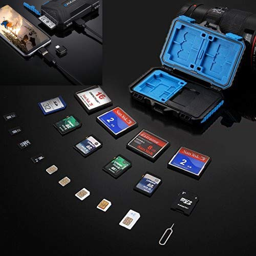 Price comparison product image Memory Card Reader,  PULUZ USB 3.0 SD CF TF Reader with OTG Fuction & 21 Slots Waterproof SD CF TF SIM Cards Case Holder for Tablet,  Computer,  Notebook & Android Smartphones