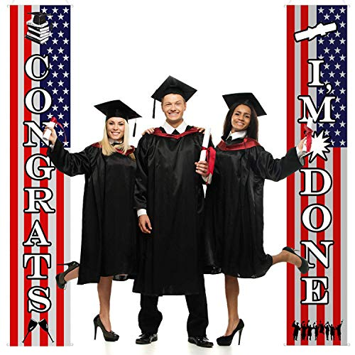Lilyminiso Graduation Decorations Graduation Backdrop Graduation Porch Sign Banners Welcome Hanging Graduation Day's Decoration for Home School Party Wall Door Yard Apartment (Best College Graduation Speeches Of All Time)
