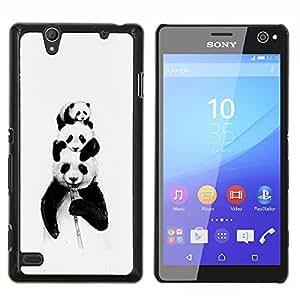 EJOOY---Cubierta de la caja de protección para la piel dura ** Sony Xperia C4 ** --Panda Bears Bambú Negro blanco del bebé lindo