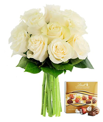 Kabloom Bouquet of 12 Fresh White Roses (Farm-Fresh, Long-Stem) and One Box of Lindt Chocolates ()