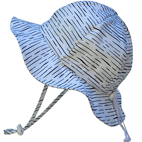 Baby Sun Hat with Chin Strap, Drawstring Adjust Head Size, Breathable 50+ UPF (S: 0 - 9m, White Waves)