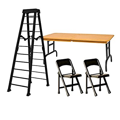 ULTIMATE Ladder, Table & Chairs Black Playset for WWE Wrestling Action Figures