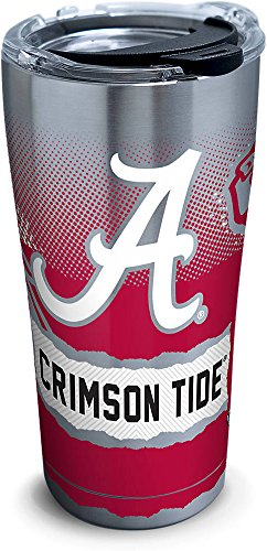 Tervis 1268408 Alabama Crimson Tide Knockout Stainless Steel Tumbler with Clear and Black Hammer Lid 20oz, - Alabama Mug