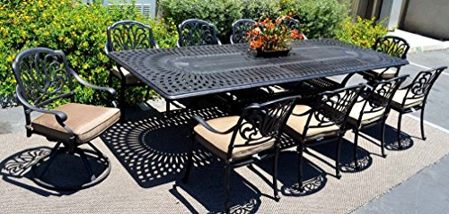 "Patio Furniture Dining 11pc Elisabeth Set Outdoor Cast Aluminum Extension Rectangle 48"" X 132″ Table Review"