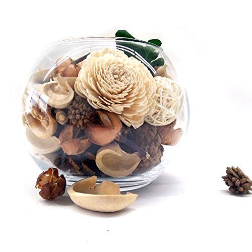 Qingbei Rina Gifts,White Vanilla Scent Fresh Natural Potpourri Bag,Decoration Home.Hand Blown Glass Vase. 22.4OZ.(white) (Scent Potpourri)