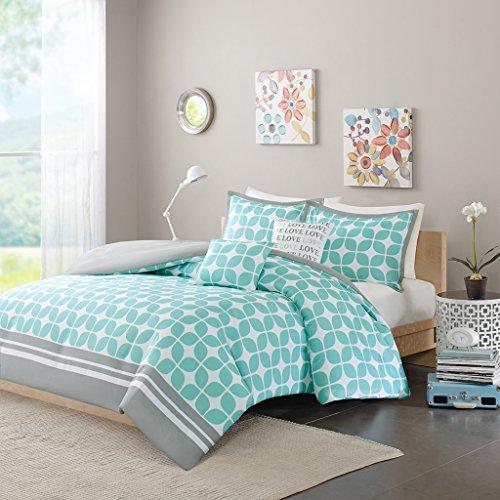 Intelligent Design Lita Teen Girls Duvet Cover Set Twin/Twin XL Size - Aqua, Geometric Motif - 4 Piece Duvet Covers Bedding Sets - Peach Skin Fabric Girls Bedding Bed Sets