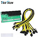 YEECHUN Mining Power Supply 12V GPU/PSU Breakout Board + 10pcs 16AWG PCI-E 6Pin to 6+2Pin Cables (27.5Inch), Power Adapter Board for HP 1200w/750w PSU Ethereum ETH ZEC (with 5 NylonTies)