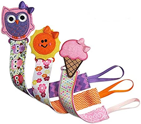 Tidy Todd - Plastic Pacifier Clip with Cartoons, Sun, Owl, Ice Cream - 29 cm long, Safe & Secure Fit, Perfect Baby Shower Gift (Pack of 3)
