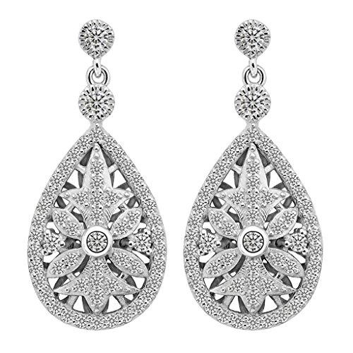 EVER FAITH 925 Sterling Silver Elegant Pave CZ Hollow out Gastby Inspired Chandelier Earrings Clear