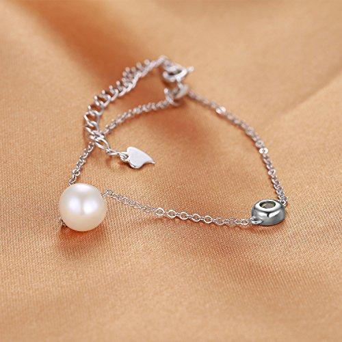 JewelryPalace Magnifique Bracelet Femme en Argent Sterling 925 en 1 Perle d'Eau Douce Culture Blanche Ronde 8.5mm et Péridot Naturelle