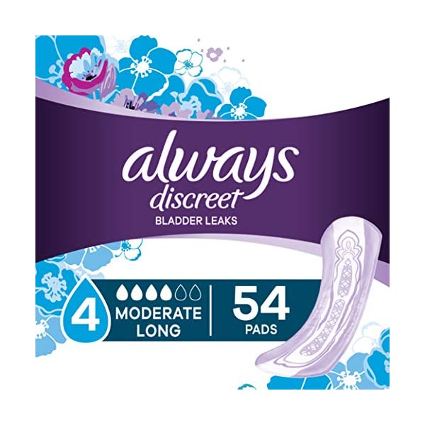 Always Discreet Incontinence & Postpartum Incontinence Pads for Women, Moderate Absorbency, Long Length, 54 Count