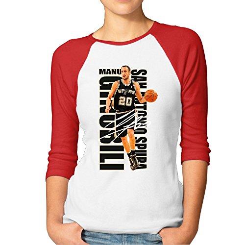 Duola Women's Baseball T-shirt Manu Ginobil San Antonio Spur Size S ()