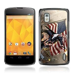 CQ Tech Phone Accessory: Carcasa Trasera Rigida Aluminio para LG Nexus 4 E960 - Funny Bill Clinton & Guns