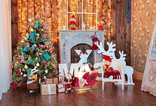 Yeele Backdrops 5x3ft /1.5 X 1.2M Merry Christmas and New Year Classic Green Tree Decorated in Christmas Toys Pictures Adult Artistic Portrait Photoshoot Props Photography Background