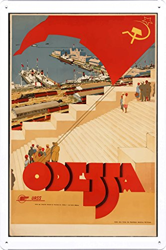 Tin Sign of Retro Vintage Travel Poster Odessa Ukraine (20x30cm) By Nature Scene Painting