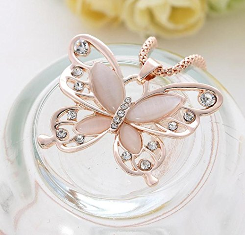 Necklace,ZYooh Mother's Day Vintage Opal Butterfly Pendant Necklace Long Sweater Chain Crystal Necklace Romantic Jewelry Gift by iLH (Image #1)