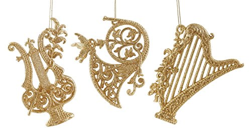 Elegant Musical Instruments Hanging Christmas Ornament Set (Musical Instrument Decorations)