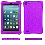 Fire 7 2017 Case Cover-TIRIN Light Weight Shock Proof,Skid Proof Soft Silicone Back Cover Case for Fire 7 2017(Do not Fit Fire 7 2015),Purple