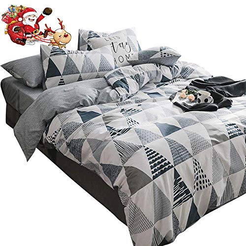 Triangle Print Geometric Duvet Cover Set Queen Hotel Quality Luxury Full Bedding Set Cotton Patchwork Duvet Comforter Cover Set 1 Duvet Cover with 2 Pillowcases Full Queen Bed