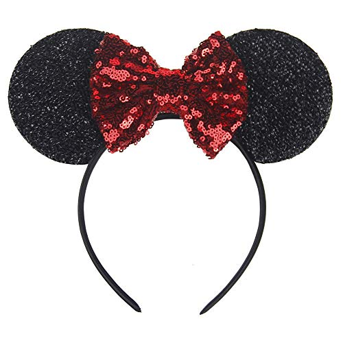 Black Mouse Ears with a Red Bow/Sparkly Mouse Ears for a Party/Event Headband/Handmade Mouse Ears - One Size 7