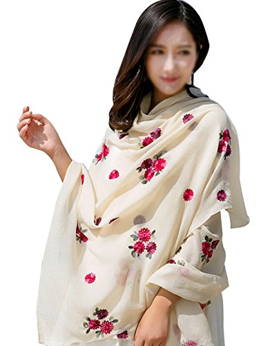 Kennedy Women Lightweight Fashion Flower embroidery Cotton And Linen Scarves, Air Conditioning Shawl Beach Cover(cream- (Embroidery Linen Flowers)
