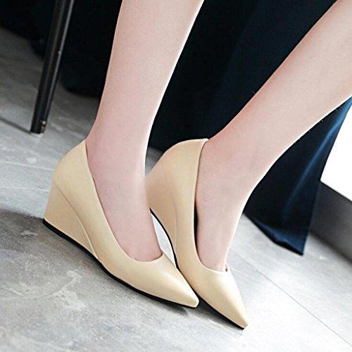 Escarpins 6cm Femmes Pointue Bouche talon Printemps Mi De Chaussures Peu Pente Beige Profonde Talon Tête Pour 5r5q6B