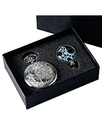 YISUYA Silver Smooth Doctor Who Pocket Watch with Glass Dome Dr. Who Necklace Chain Gift Box