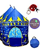 TentTrix Kids Play Tent - Indoor / Outdoor Blue Prince Castle Tent - GLOW IN THE DARK Stars & Flashlight