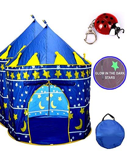 TentTrix Kids Play Tent - Indoor / Outdoor Blue Prince Castle Tent - GLOW IN THE DARK Stars & Flashlight
