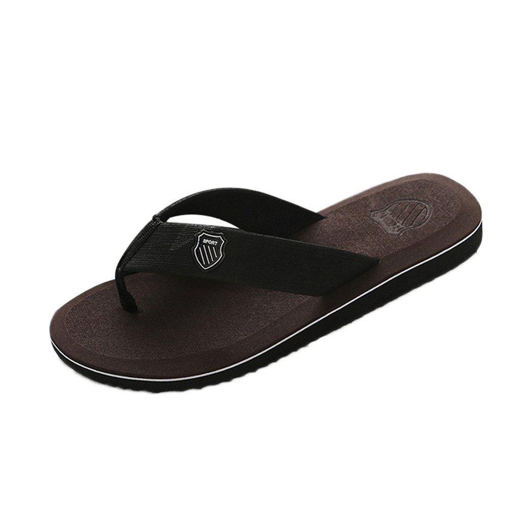 Corriee Men's Flip-Flops Indoor Outdoor Casual Shoes Mens Beach Slippers Summer Footwear Deep Brown