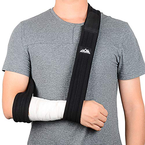 SupreGear Arm Sling, Adjustable Lightweight Comfortable Shoulder Immobilizer Arm Sling Breathable Medical Shoulder Support for Injured Arm/Hand/Elbow - 71 inch (Black)