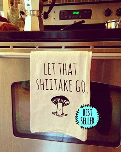 Dishcloth Towel (Funny Dishcloth/Tea Towel ~ Let That Shiitake Go ~ Mushroom doing Yoga ~ Funny Kitchen Cloth, Vegetable Pun)