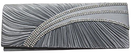 HotStyleZone impresionante Ladies 'Diamante Satén Bolsa de embrague noche boda Prom Fiesta 10colores plata