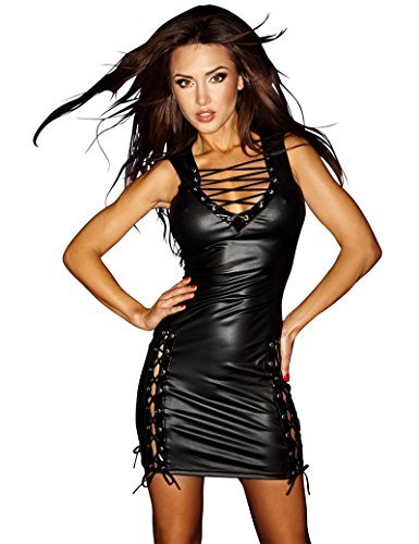 [Fashion Queen Women's Sexy Sleeveless Bodycon Lace Up Faux Leather Clubwear V-neck Mini Dress (One Size, Black)] (Leather Lace Up Mini)