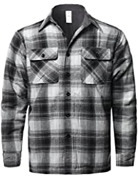 Men's Casual Long Sleeves Chest Pocket Plaid Flannel Shirt Jacket