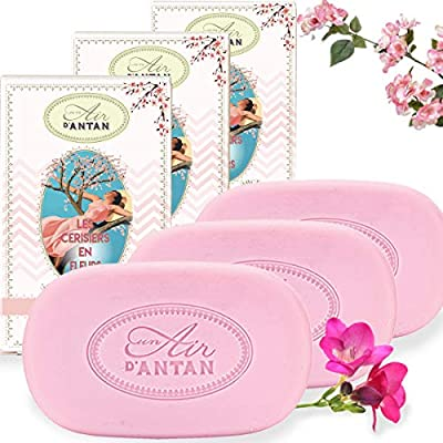 Pack 3x100g Seife Un Air d'Antan®/Parfüm: Kirschblüten/Bio-Arganöl & Bio-Sheabutter/Parabenfreie/Seife BIo/Organische…
